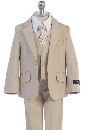 Wholesale boys suits 5 piece set kahaki