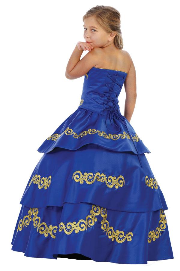 Bijan Kids charro de niña en azul rey con bordado dorado