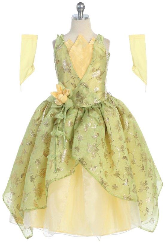 Princess Tiana Green dress wholesale princess dress in green and yellow