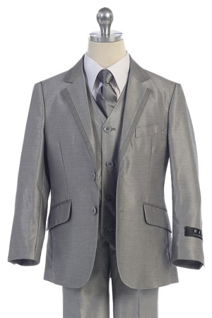 Bijan kids BJ4005-12 silver suit