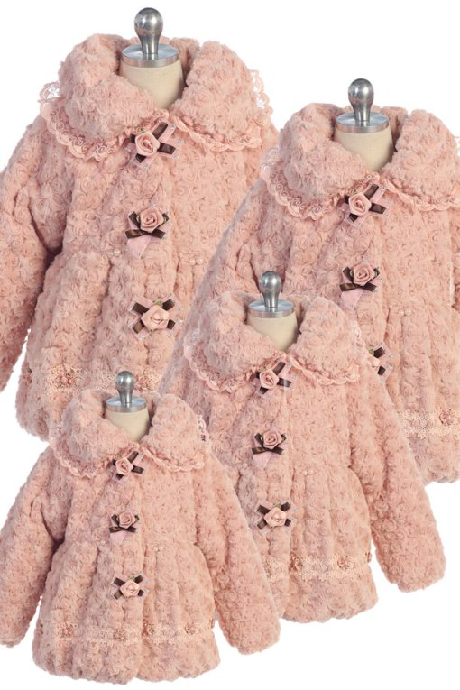 bijan kids 1880 plush pink coat