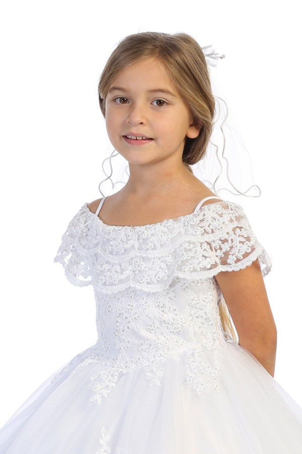 White communion dress for girls with cascading drop shoulder