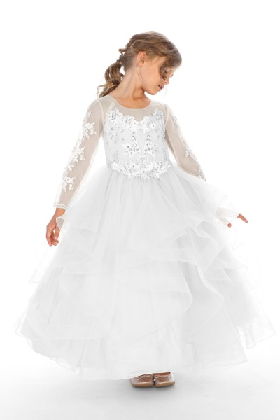 White communion dress Bijan kids wholesale kids clothing long sleeve communion dress in white