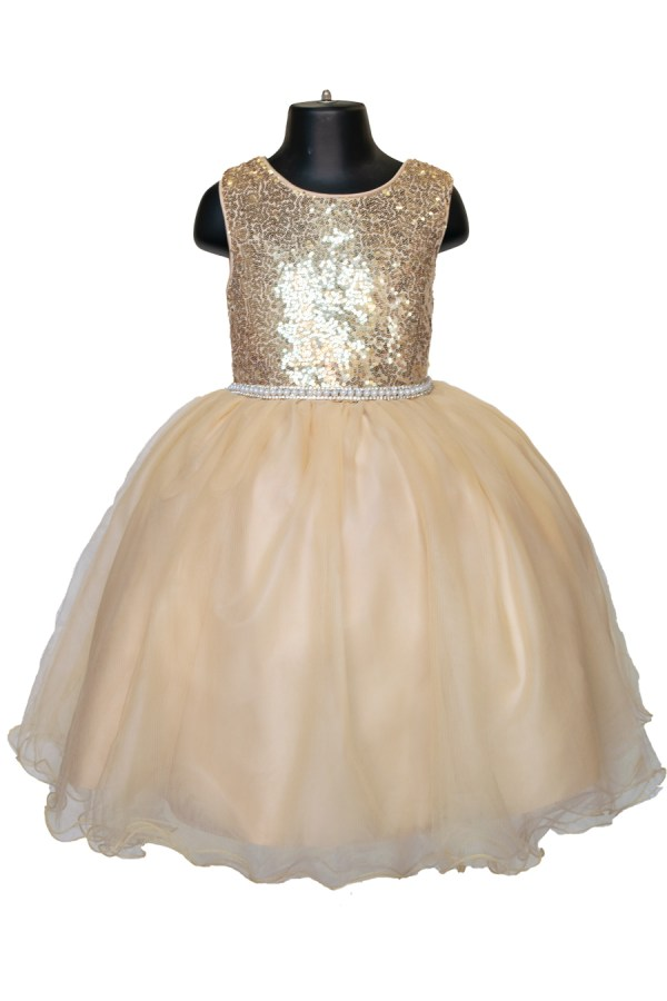 short flower girl dress in gold color