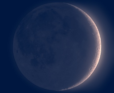 Nieuwe maan sikkel, zoals te zien op de dag van de bazuin