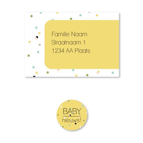 Bij Bis collectie preview geboortekaartje confetti 210x100 stickers