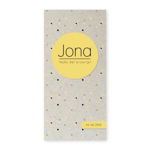 Bij Bis collectie preview geboortekaartje confetti 210x100 voorkant-impressie grijsboard