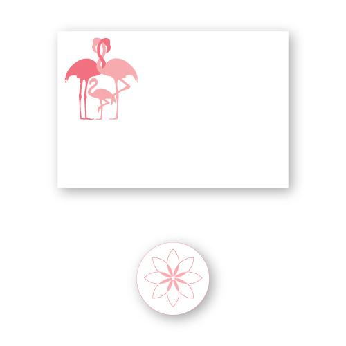 Tropisch geboortekaartje met een flamingo