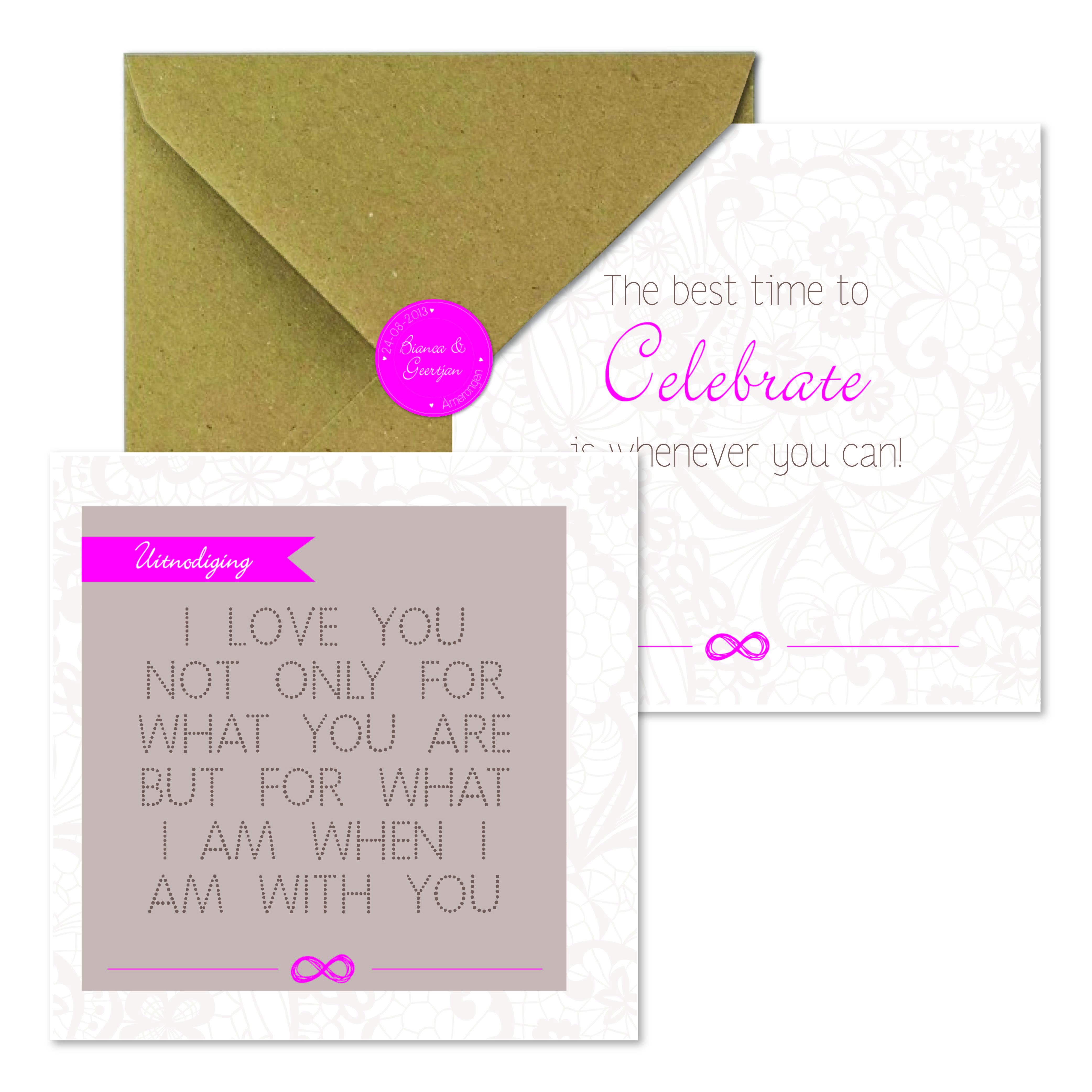 Wonderlijk Trouwkaart kant en quotes met roze accenten - volledige huisstijl ER-41