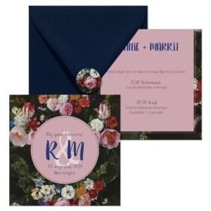trouwkaart bloemen set