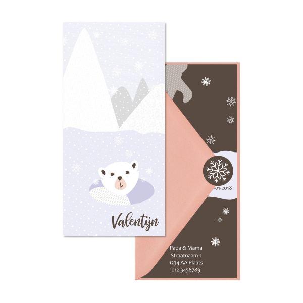 geboortekaartje ijsbeer set roze