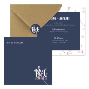 trouwkaart monogram watercolor uitnodiging set