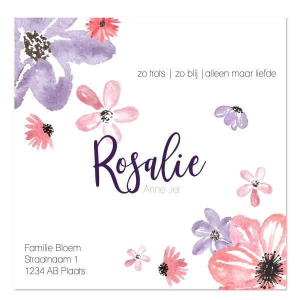 geboortekaartje watercolor flowers achterkant