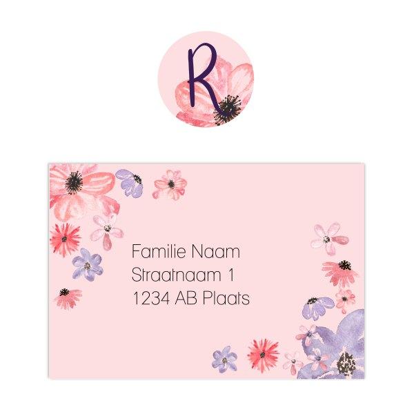 geboortekaartje watercolor flowers sluitzegel en adressticker