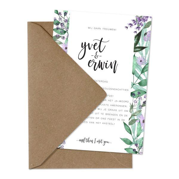 trouwkaart bloementuin envelop en kaart