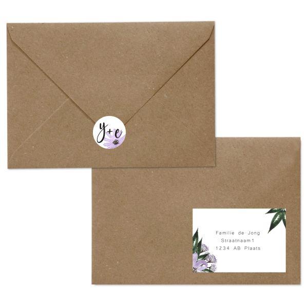 trouwkaart bloementuin envelop
