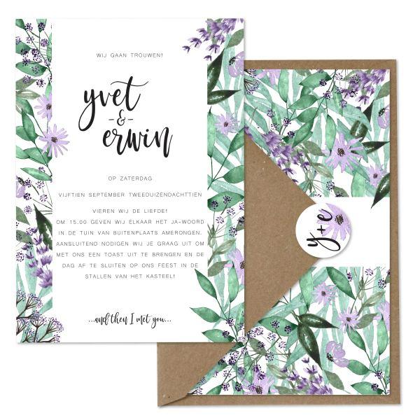 trouwkaart bloementuin set