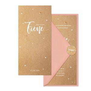 Geboortekaartje kraft♡ dots set: geboortekaartje kraft ♡ dots set roze envelop