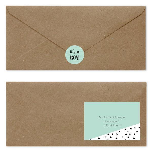 geboortekaartje geboortekaartje spots ♡ blue green envelop