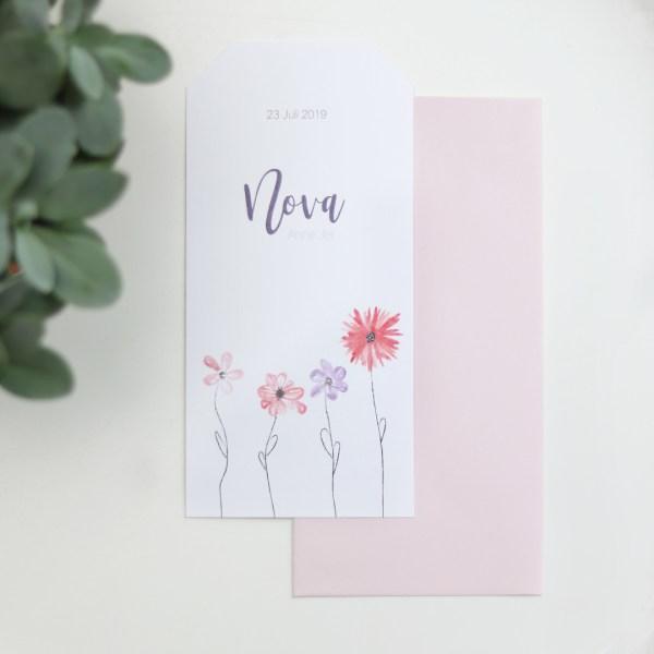 geboortekaartje zomer bloemen set