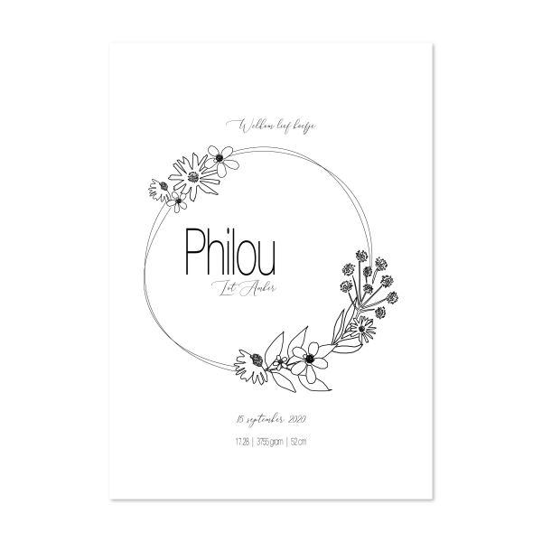 naamposter bloemenkrans zwart wit