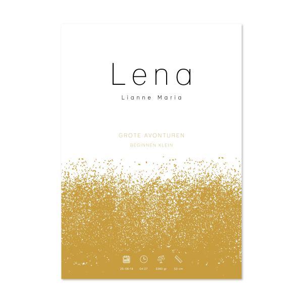 geboorteposter Lena oker