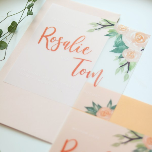 save-the-date kaart peachy rose sfeer 2