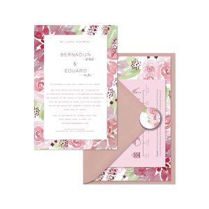 bijzondere trouwkaart la vie en rose set
