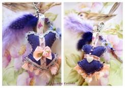bijou de sac pume et papillon corset mauve orangé lacaudry creation