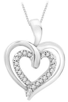Collier avec pendentif double coeur Or blanc 9cts Diamant