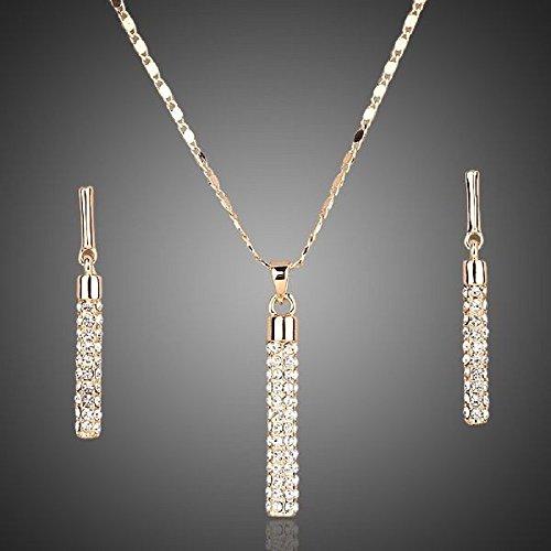 LORELYS-Cascade-de-Cristal-Parure-de-Cristal-Swarovski-Elments-Transparent-Collier-boucles-doreilles-plaqu-or-18-k-0