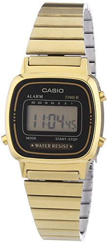 Casio-Vintage-LA670WEGA-1EF-Montre-Femme-Quartz-Digital-Cadran-Noir-Bracelet-Acier-Dor-0