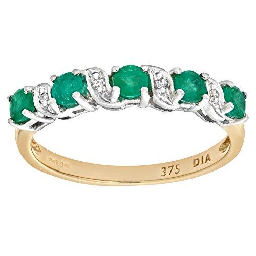 Naava-PR06899Y-EM-O-Bague-Femme-Or-jaune-9-cts-18-Gr-Diamant-Emeraude-0005-Cts-T-555-0