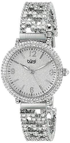 Burgi-Femme-Quartz-Affichage-Analogique-Cadran-Argent-Argent-Bracelet-Mtal-0
