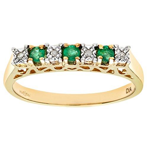 Bague-Femme-Or-jaune-9-carats-21-Gr-Emeraude-Diamant-018-Cts-T-555-0