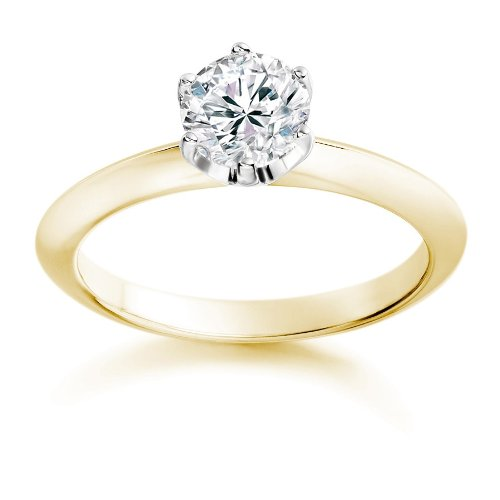 Diamond-Manufacturers-Bague-de-fiancailles-avec-diamant-Rond-Femme-Or-jaune-7501000-18-cts-Diamant-025-ct-0