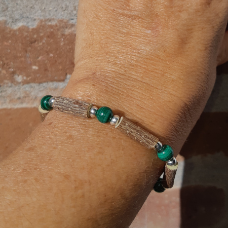 Bracelet noisetier malachite