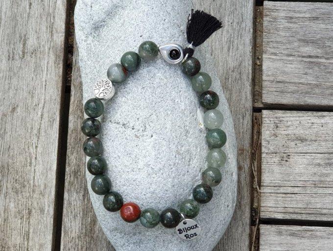 Bracelet élastique agate sang d'Afrique
