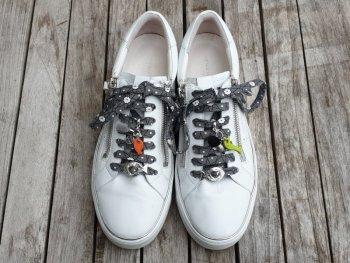 Lacet japonais asanoha fleurs gris