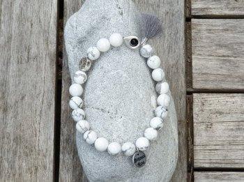 Bracelet élastique howlite blanche