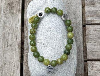 Bracelet élastique jade néphrite verte