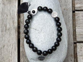 Bracelet élastique obsidienne noire