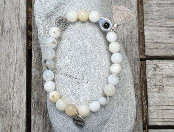 Bracelet élastique opale blanche laiteuse
