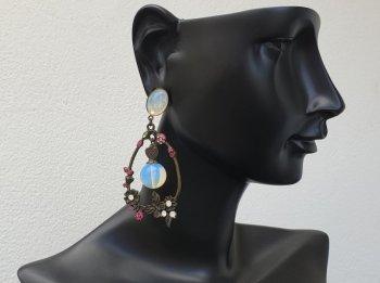 Boucle d'oreille clip opale en fleur