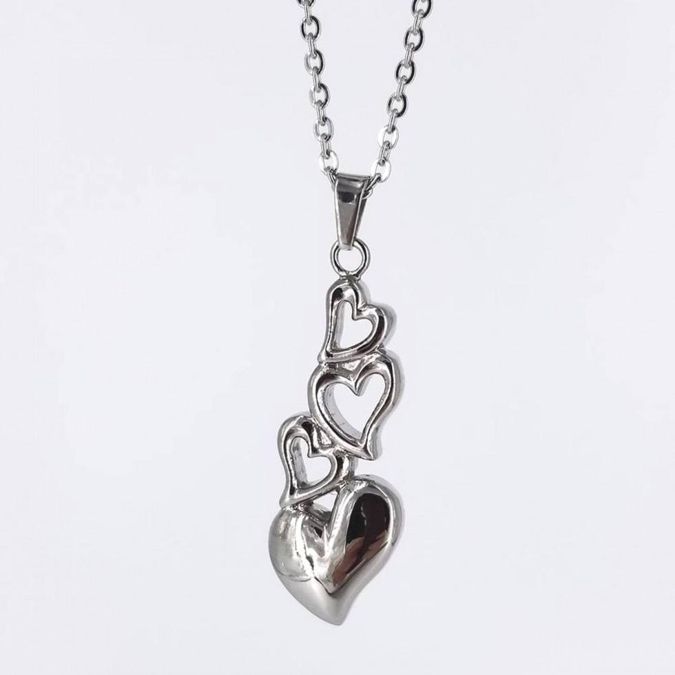 Collier pendentif URNE-CENDRE 4 Coeurs en Acier Inoxydable