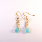 boucles d'oreilles epi dore et facette bleue (Copier)