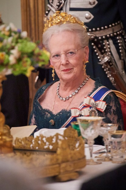 Queen Margrethe of Denmark attending the State Banquet at Amalienborg with the Danish Royal Family and President Gudni Thorlacius Johannesson with wife Ms. Eliza Jean Reid in Copenhagen, Denmark on January 24, 2017. Photo by Stefan Lindblom/Stella Pictures/ABACAPRESS.COM | 579601_012 Copenhague Copenhagen Danemark Denmark