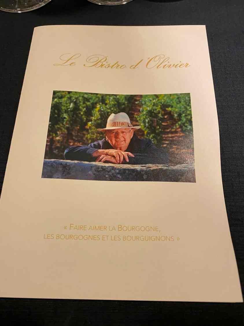 Menu Olivier Leflaive Puligny Montrachet Bourgogne Frankrijk