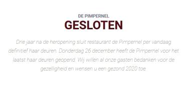 Restaurant De Pimpernel Hoofddorp Definitief Gesloten
