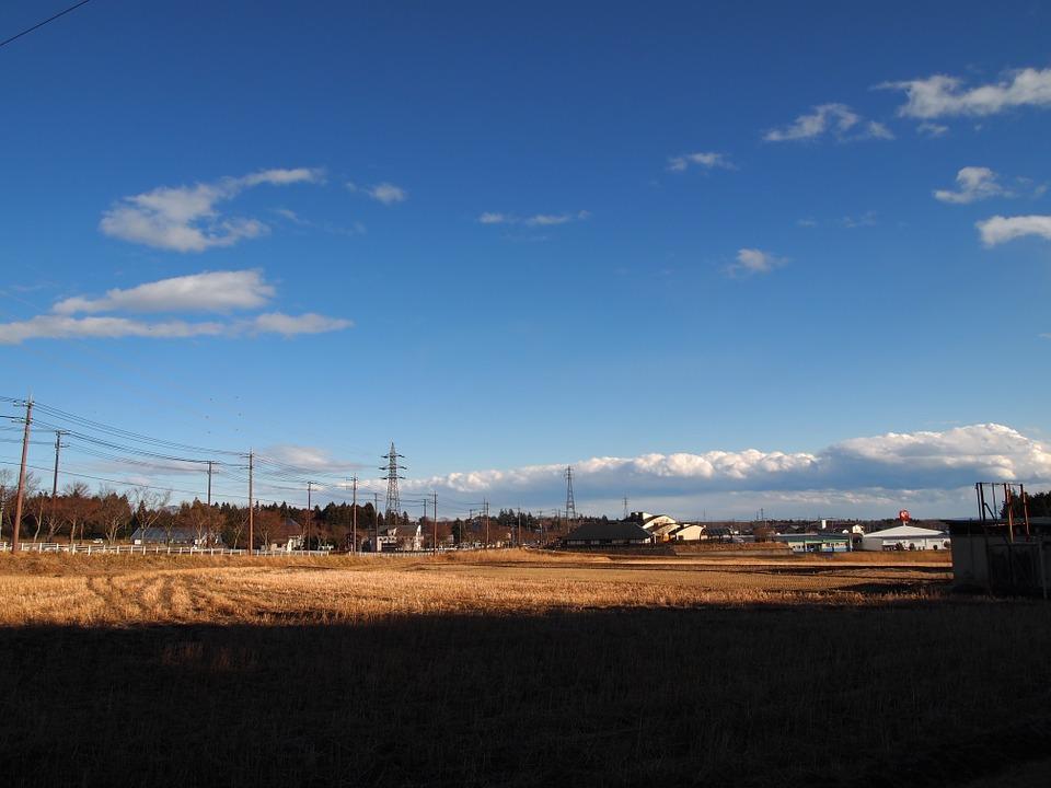 冬 田んぼ 田舎 青空 水田 風景 日本 静けさ 静かな